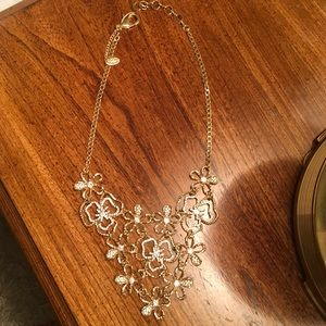 Gold and Silver Floral Statement Necklace